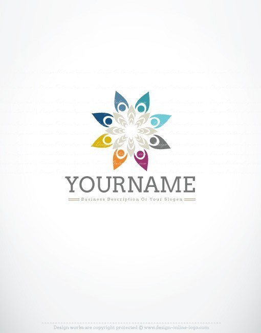 3016-online-Group-people-logo-design-template