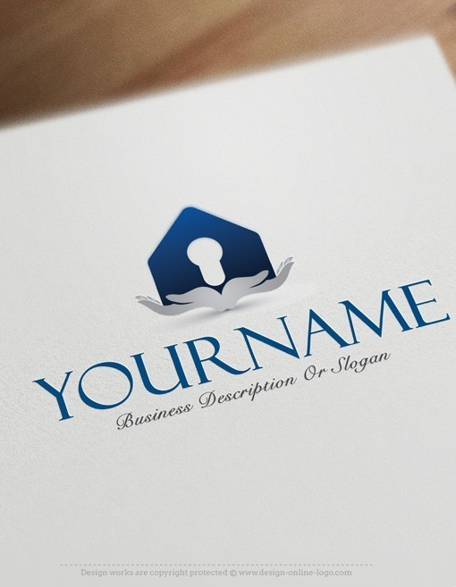 Hands Real Estate online Logo design template
