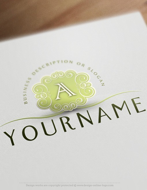 Exclusive Design: Online Initial frame Logo + FREE Business Card