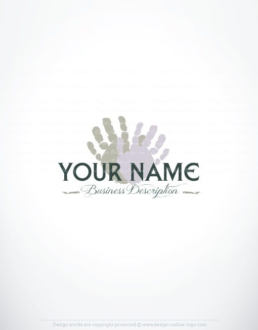 Exclusive Design: Online Palms Hands logo + FREE Business Card