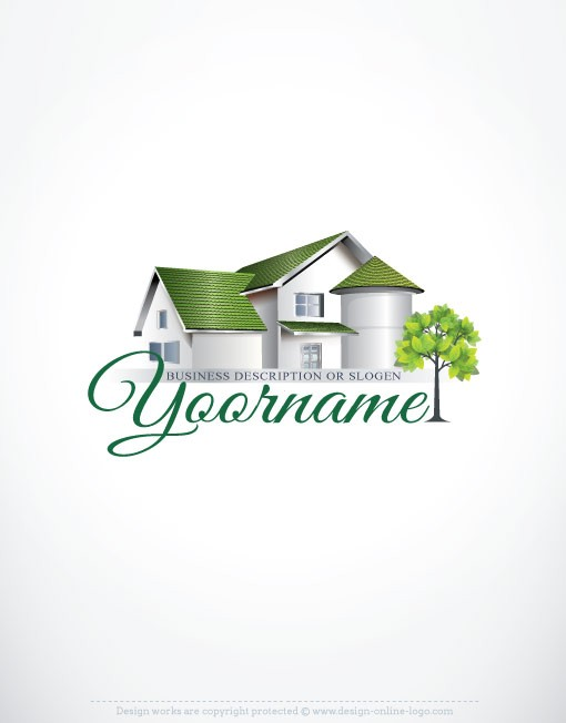 Exclusive design real estate house logo free business card for Household design logo