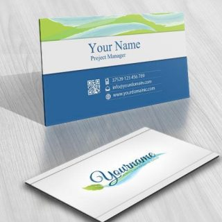 3126-water-leaf-green-logo-free-business-card-design