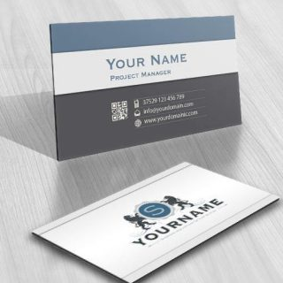 3136-Crest-lion-Initials-logo-free-business-card-design