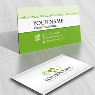 3215-green-flower-logos-Images-free-business-card-design