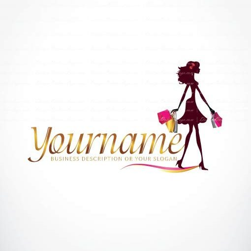 Ready made Woman Shopping Logo Design for sale Online.