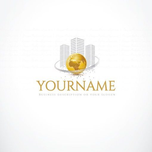 Exclusive Ready made Real Estate Logo design for sale online with golden globe and silver buildings symbol.