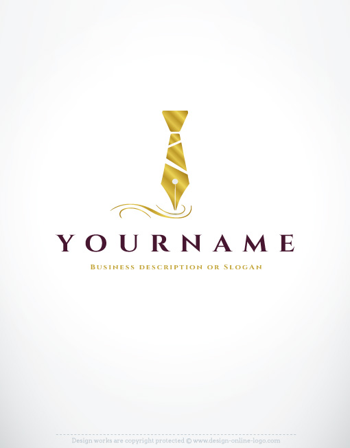 Exclusive Design: Elegant quill Pen Logo + FREE Business Card